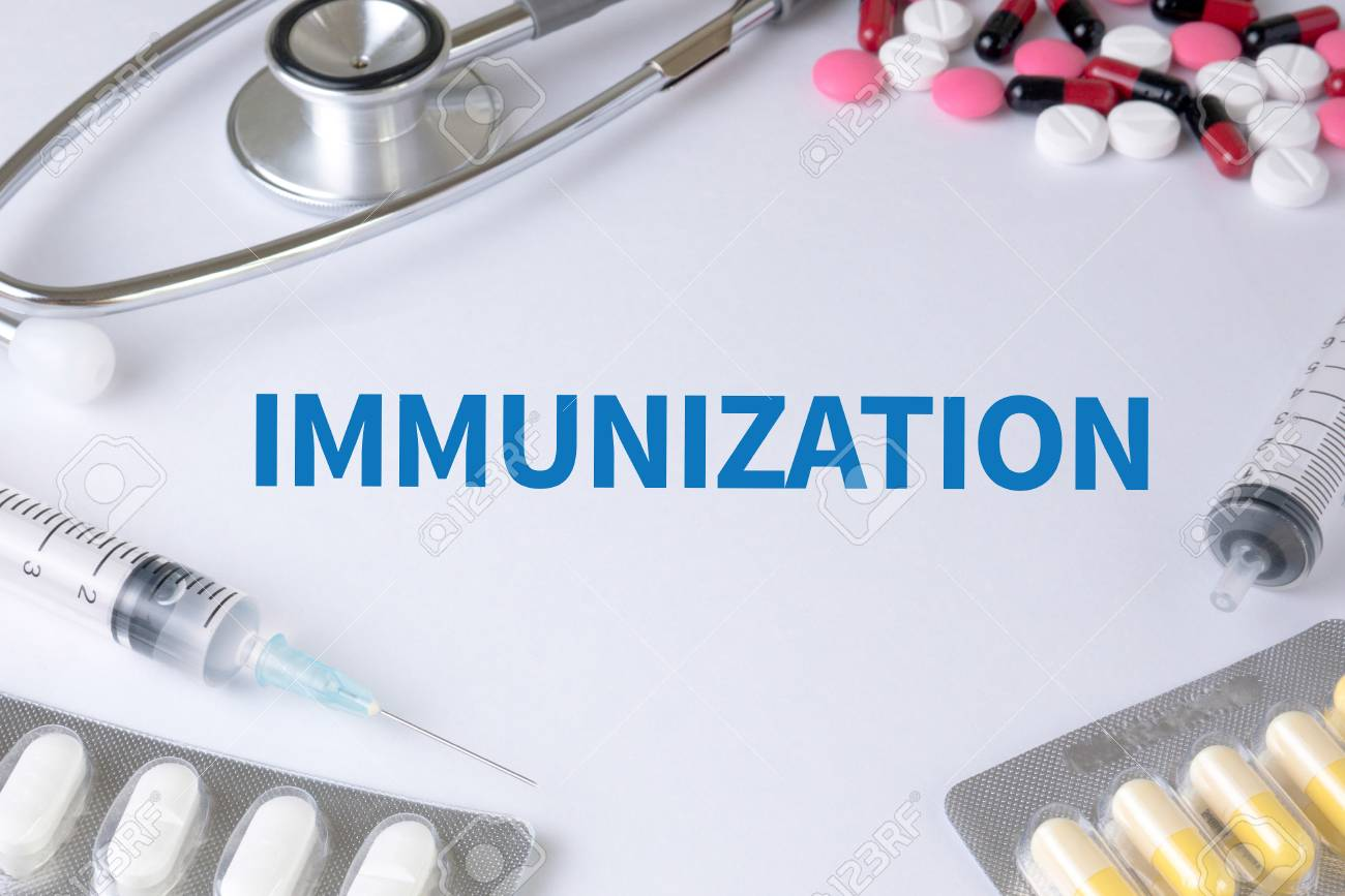 IMMUNIZATION Text On Background Of Medicaments Composition 1300x867