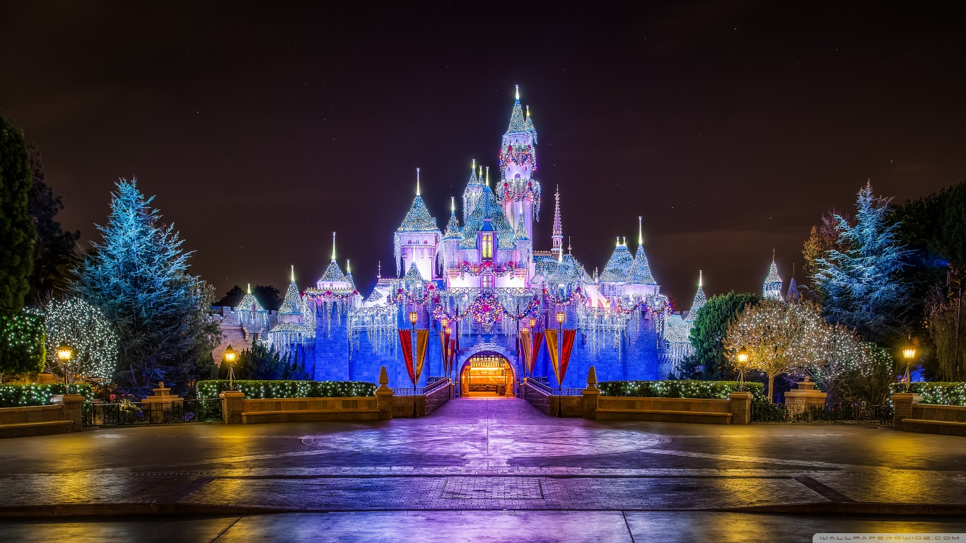 Disneyland Castle Christmas Light Wallpaper for HD and Widescreen 1366x768