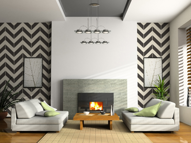 Pre spaced Chevron design on an easy to apply wallpaper style sheet 750x562
