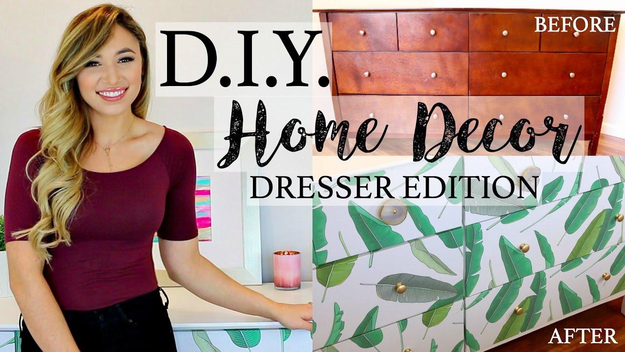 DIY HOME DECOR HOW TO REDO A DRESSER WITH WALLPAPER 1280x720