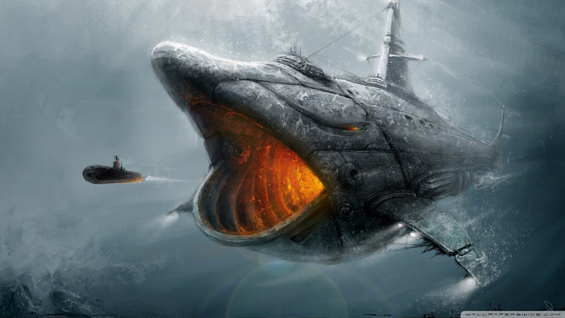 Download Fish Submarine Wallpaper 1920x1080 Wallpoper 1920x1080