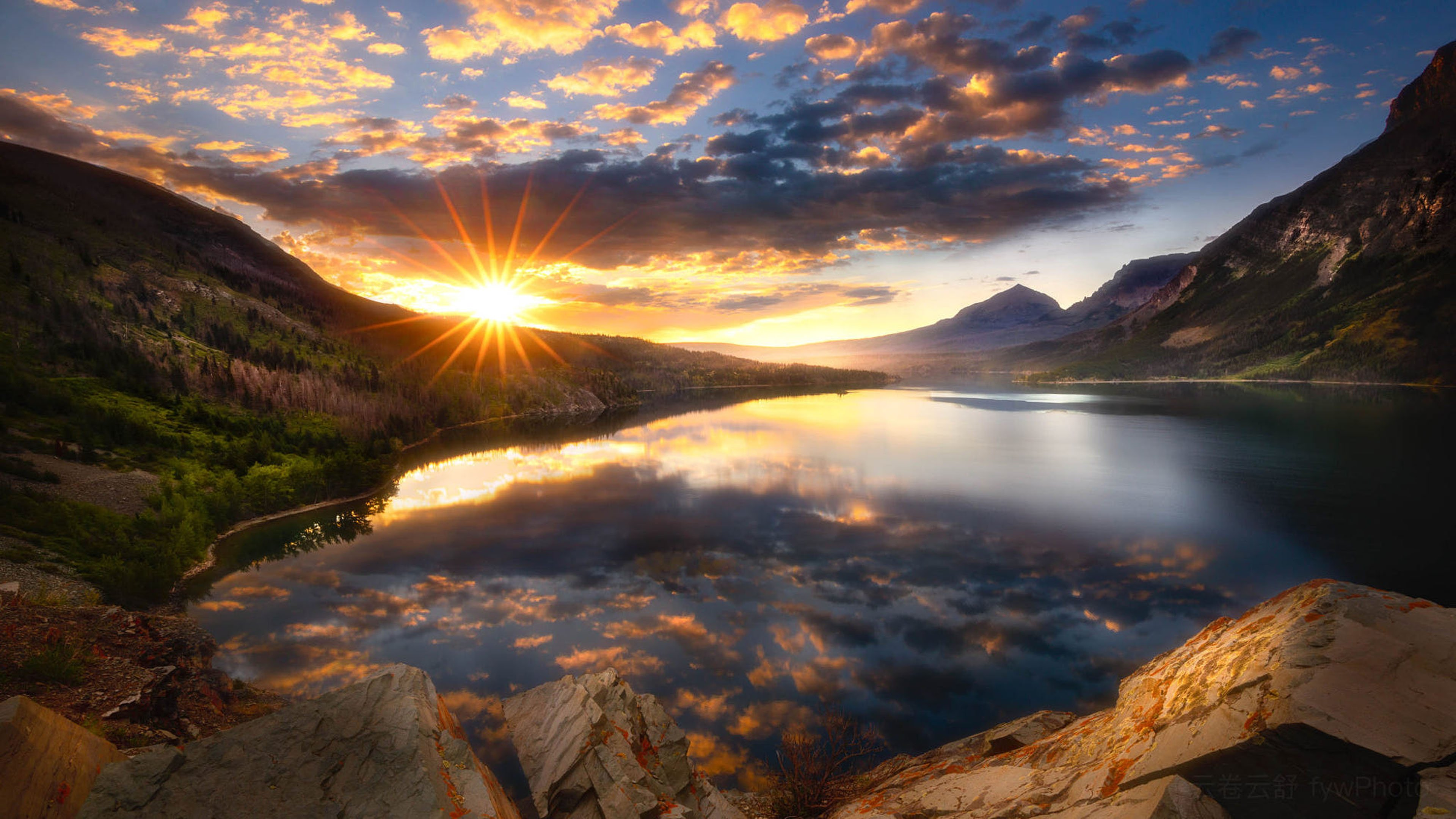 Saint Marys Lake Lake Montana Glacier National Park Sunrise 3840x2160