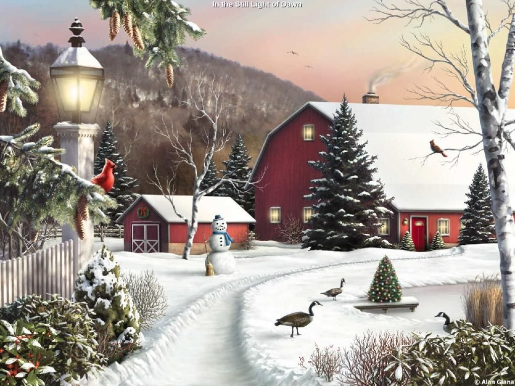 Drawing Painting Scenic Winter picture nr 40757 1024x768