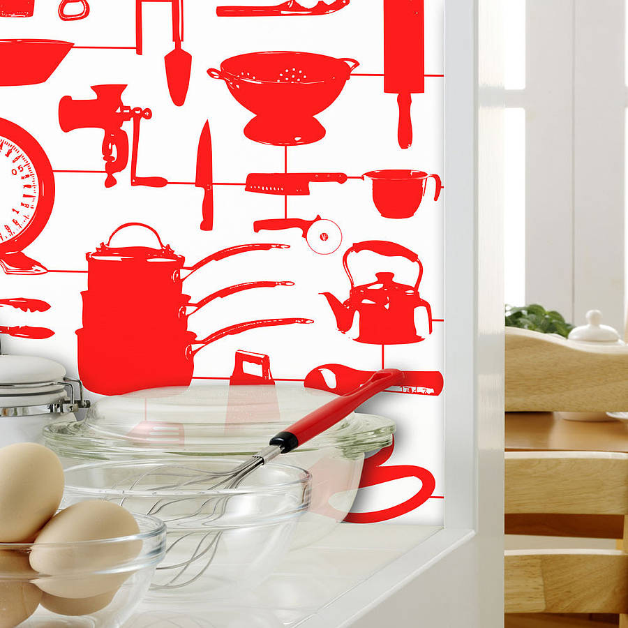 Free Airfix Kitchen Wallpaper Red By Victoria Eggs