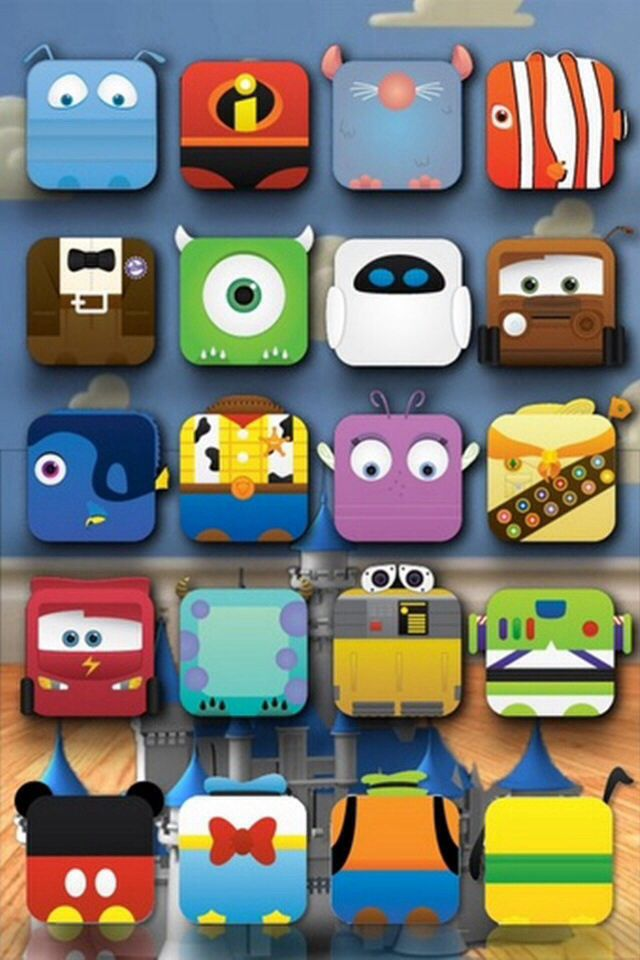 Disney Cartoon Shelf Wallpaper Pinterest 640x960