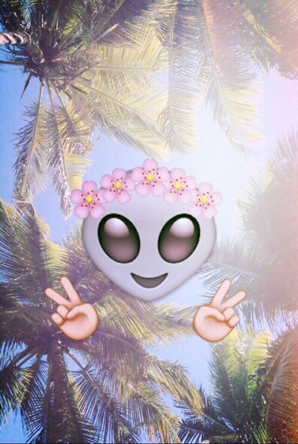 Alien Emoji Wallpaper Alien Cute Emoji Flowers 610x909