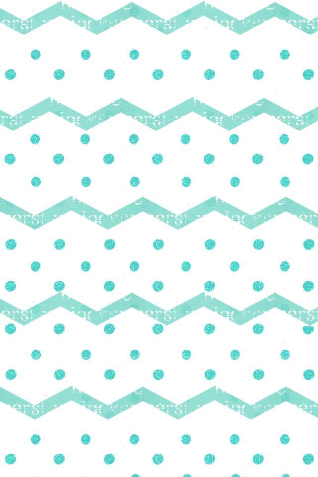 Turquoise chevon zigzag dots iphone wallpaper background 640x960