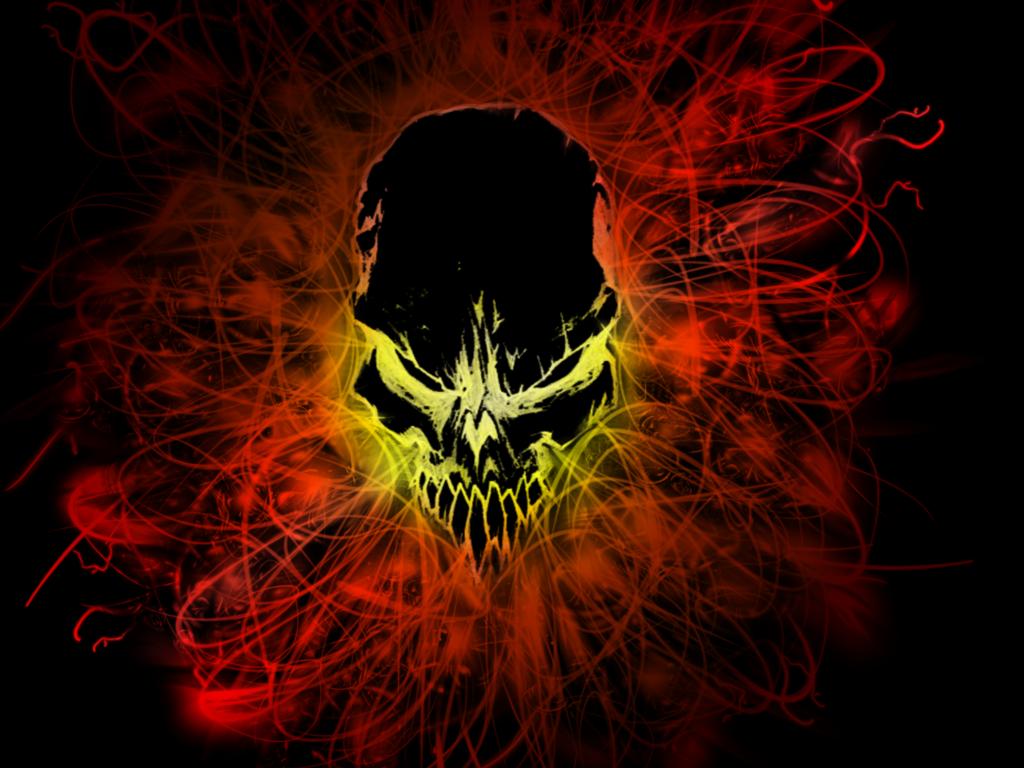 Wallpaper 3   Black Fire Skull by Blacktiger5 1024x768