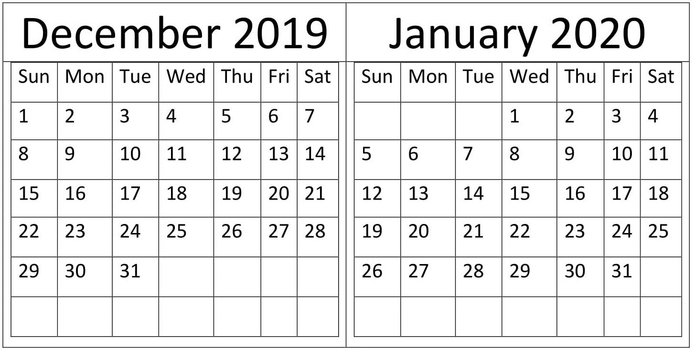 December January 2020 Calendar Holidays Template Latest 1453x733