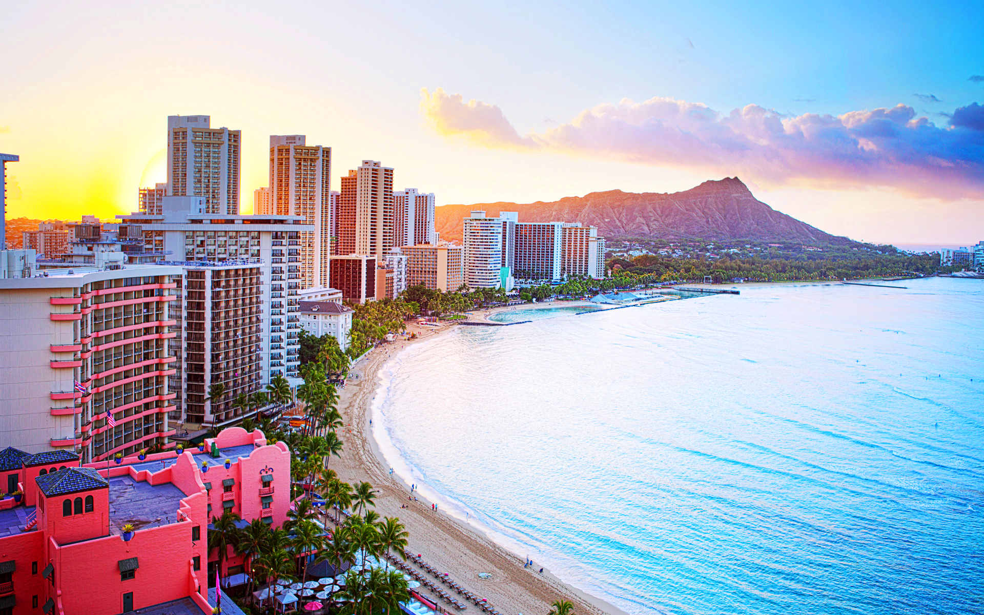Hawaii waikiki beach wallpaper 1920x1200 21520 1920x1200