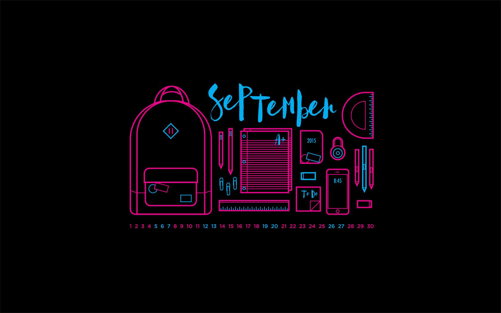September 2015 Desktop Calendar Wallpaper Paper Leaf 1680x1050
