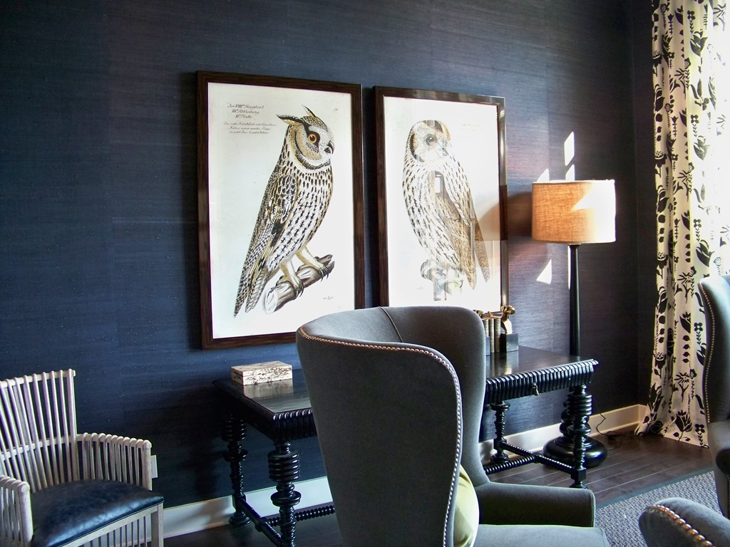 In this study dark navy grasscloth makes this room a cozy intimate 1024x768