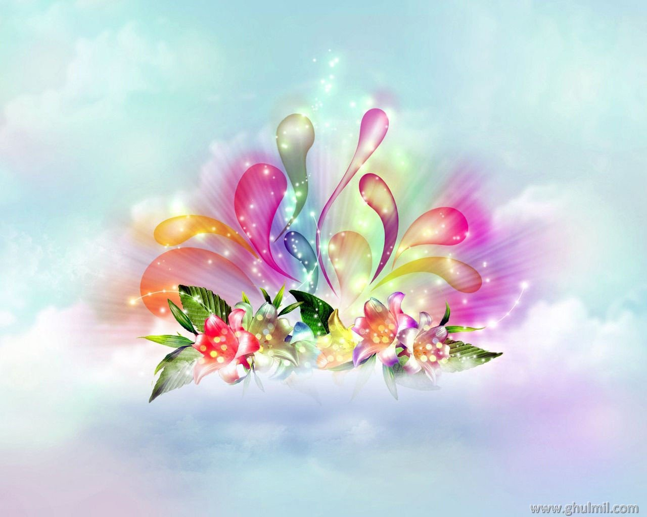 beautiful colorful 3d hd flowers wallpaper for desktop background 1280x1024