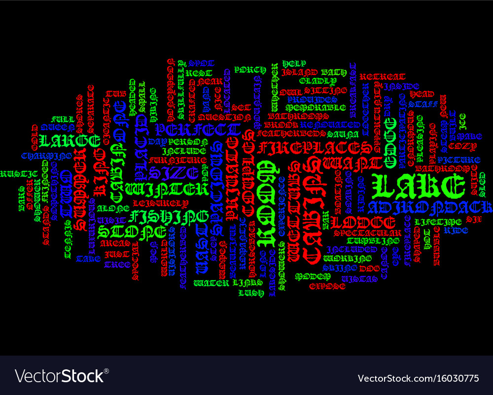 Lake placid lodge text background word cloud Vector Image 1000x802