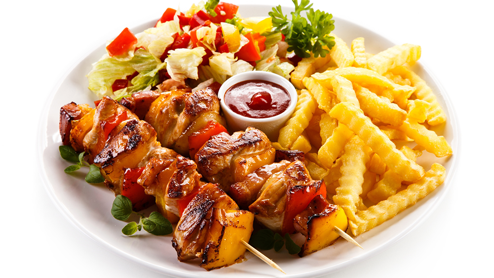 Images Shashlik French fries Ketchup Food Plate Meat 1600x900 1600x900