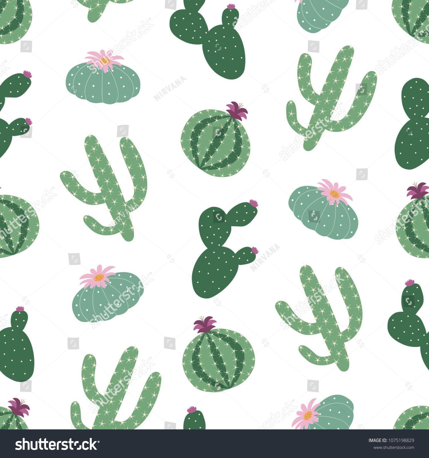 Green Plants Cactus Peyote Seamless Pattern Stock Illustration 1500x1600