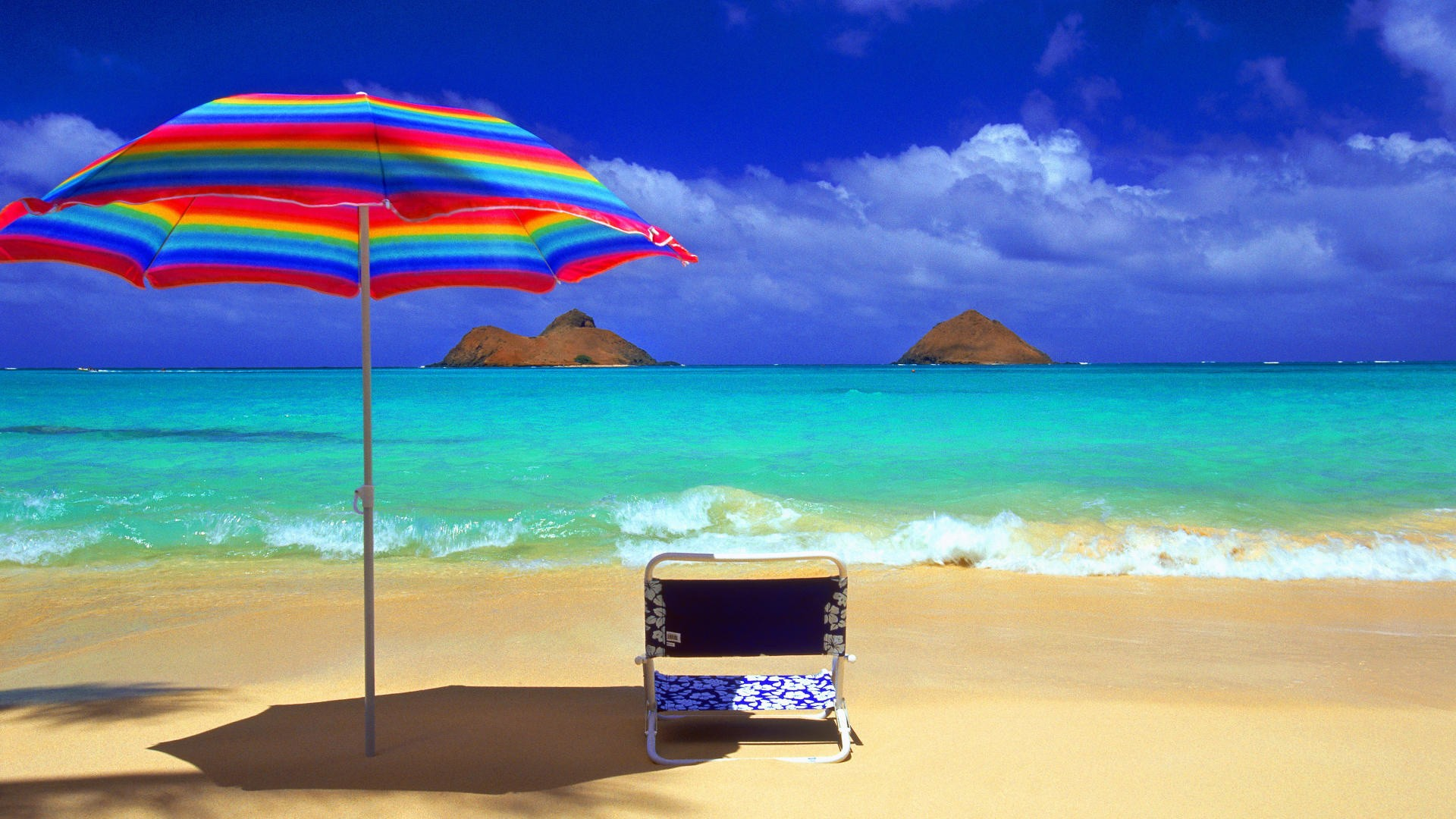 sun beach umbrella hd wallpaper wallpapers55com   Best Wallpapers 1920x1080