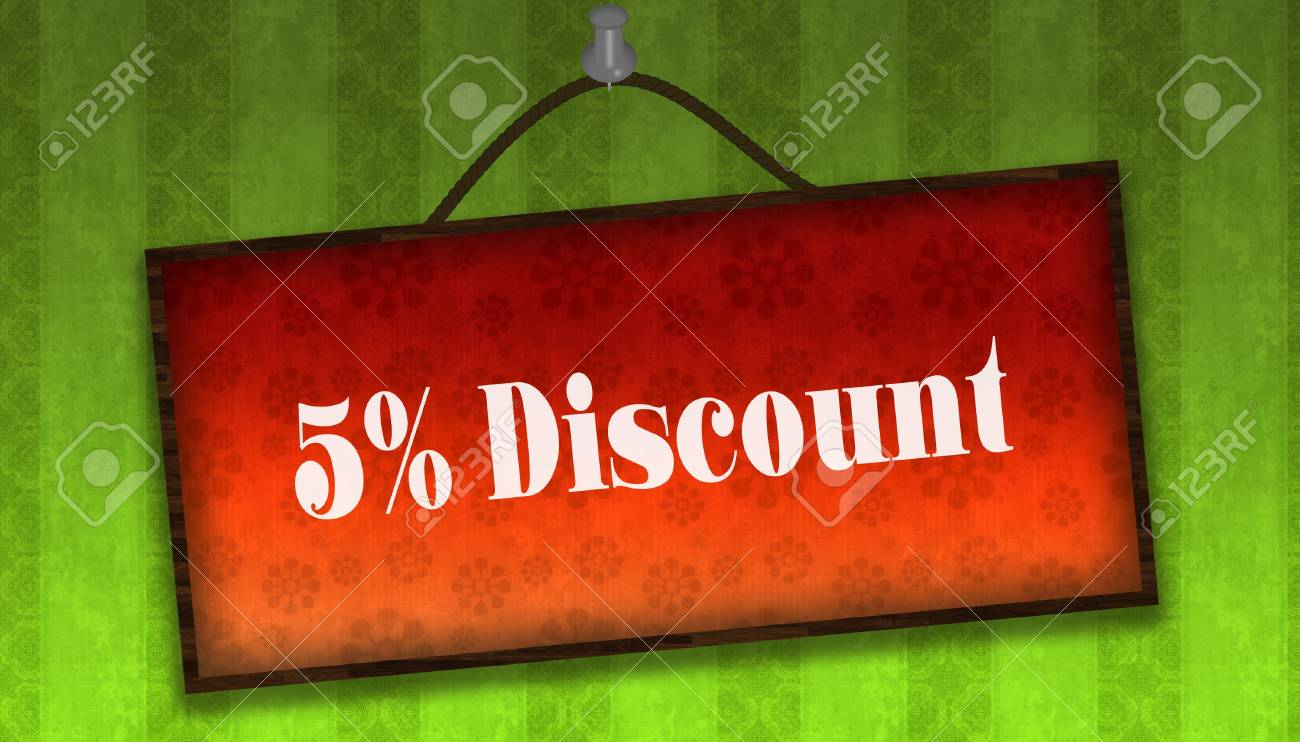 5 PERCENT DISCOUNT Text On Hanging Orange Board Green Striped 1300x742