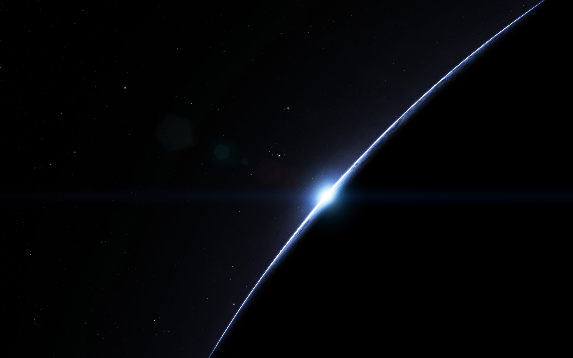 Wallpaper dark simple space planet sunrise stars 2000x1250