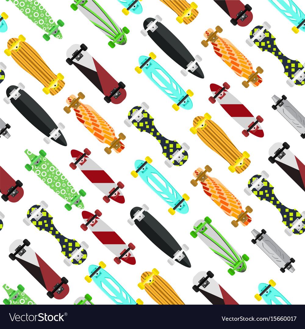 Cartoon color skateboard background pattern Vector Image 1000x1080