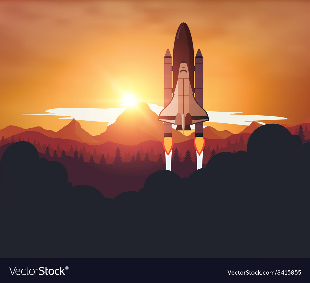 Space Shuttle with sunset background Royalty Vector 1000x913