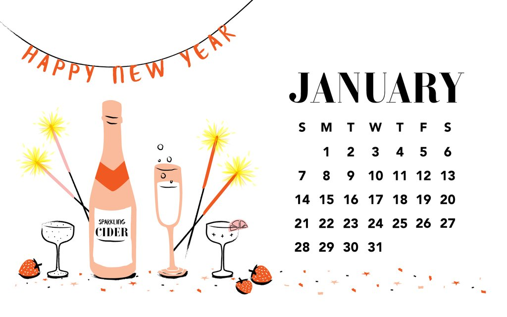 January 2018 Calendar Wallpaper 1024x640
