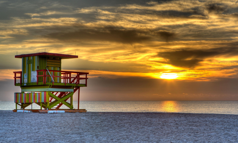 South beach miami usa evening sunset sun sky clouds sea ocean 2880x1730