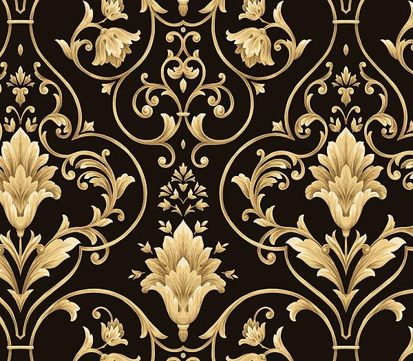 Patterns Architectural Damask Wallpapers House Gold Design Black 600x525