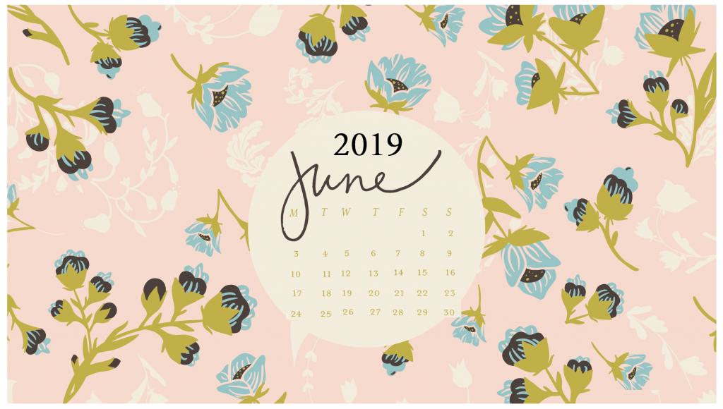 June 2019 Floral Desktop Calendar Calendar wallpaper Desktop 1024x580