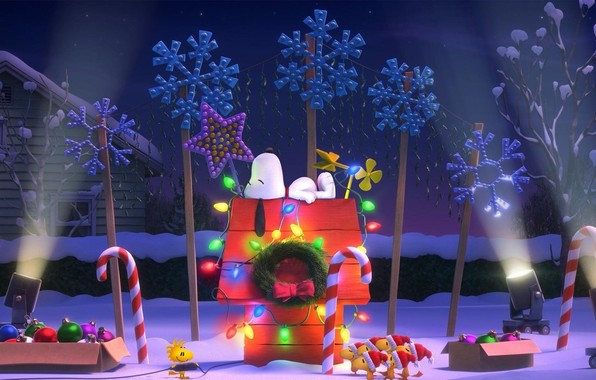 Wallpaper the peanuts christmas snoopy woodstock beagle wallpapers 596x380