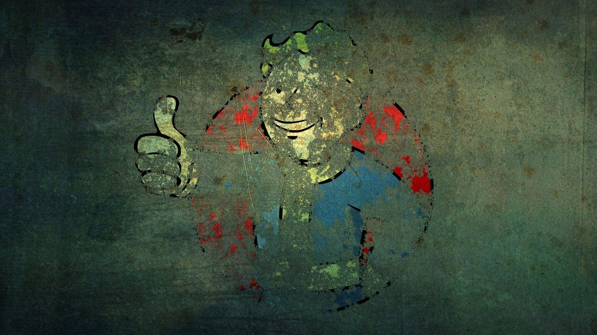 Video games Fallout grunge Vault Boy wallpaper 1920x1080 341067 1920x1080