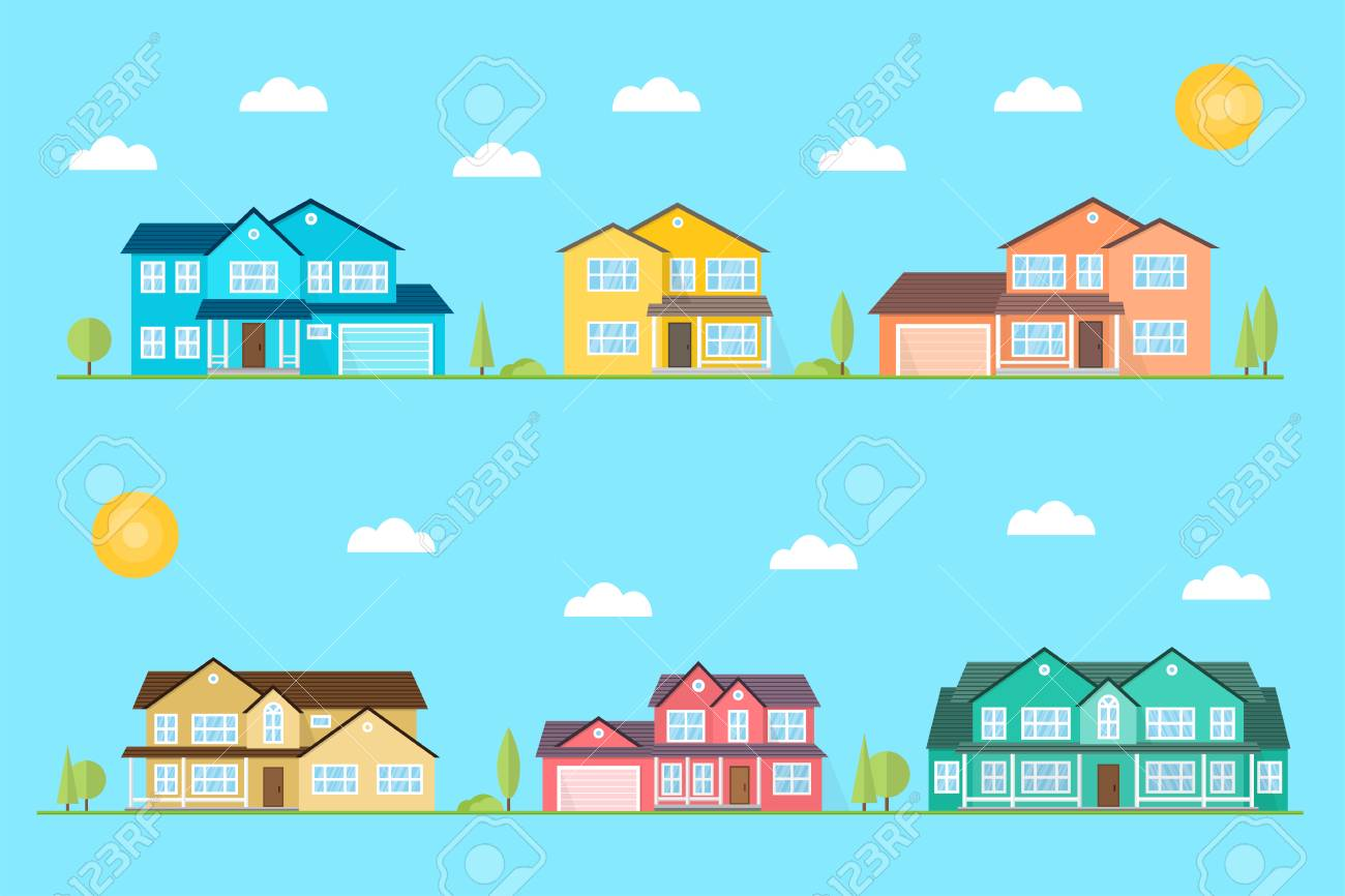 Neighborhood With Homes Illustrated On The Blue Background Vector 1300x866