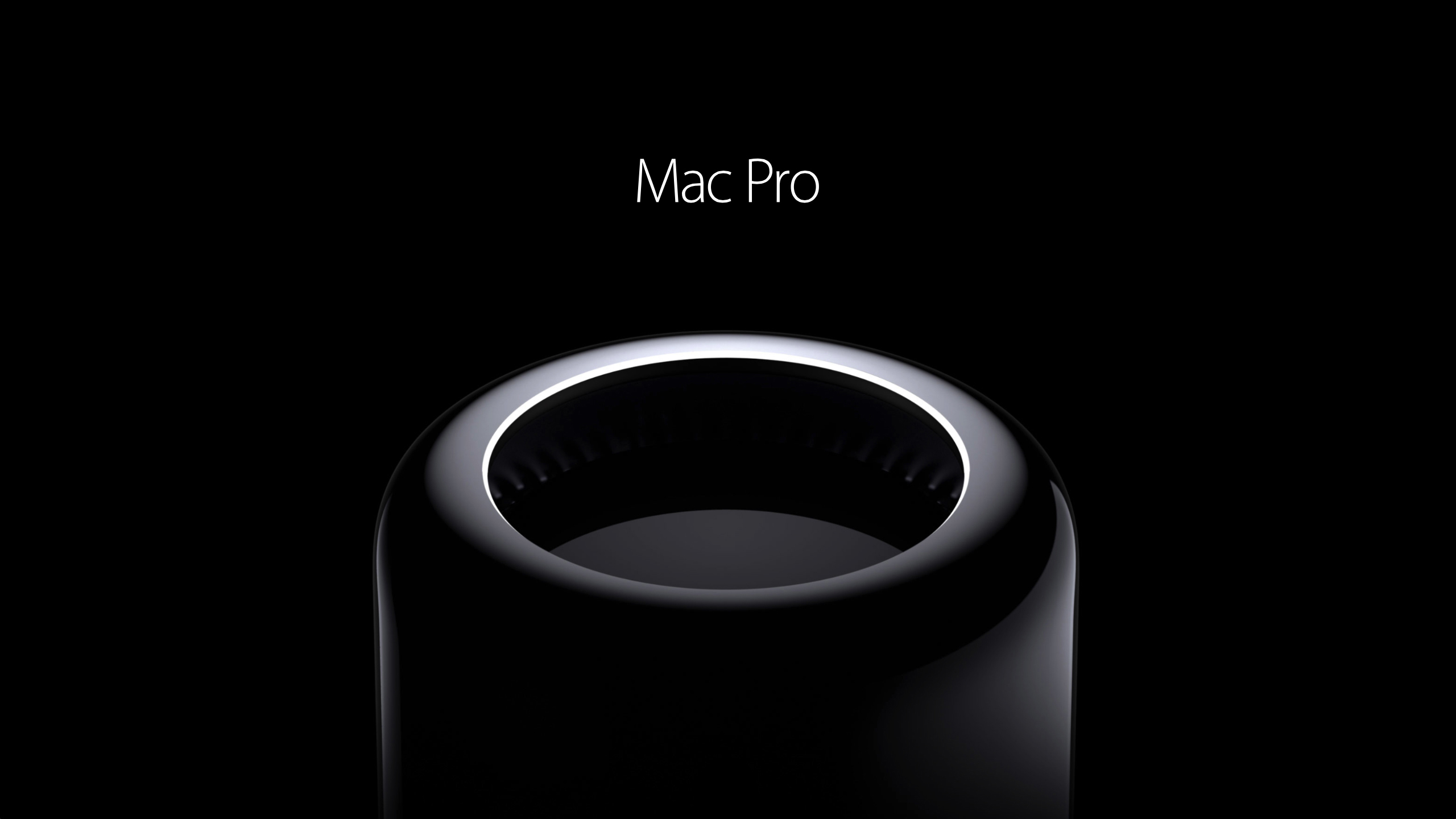 Download wallpaper apple mac pro 2014 gloss black black background 2560x1440