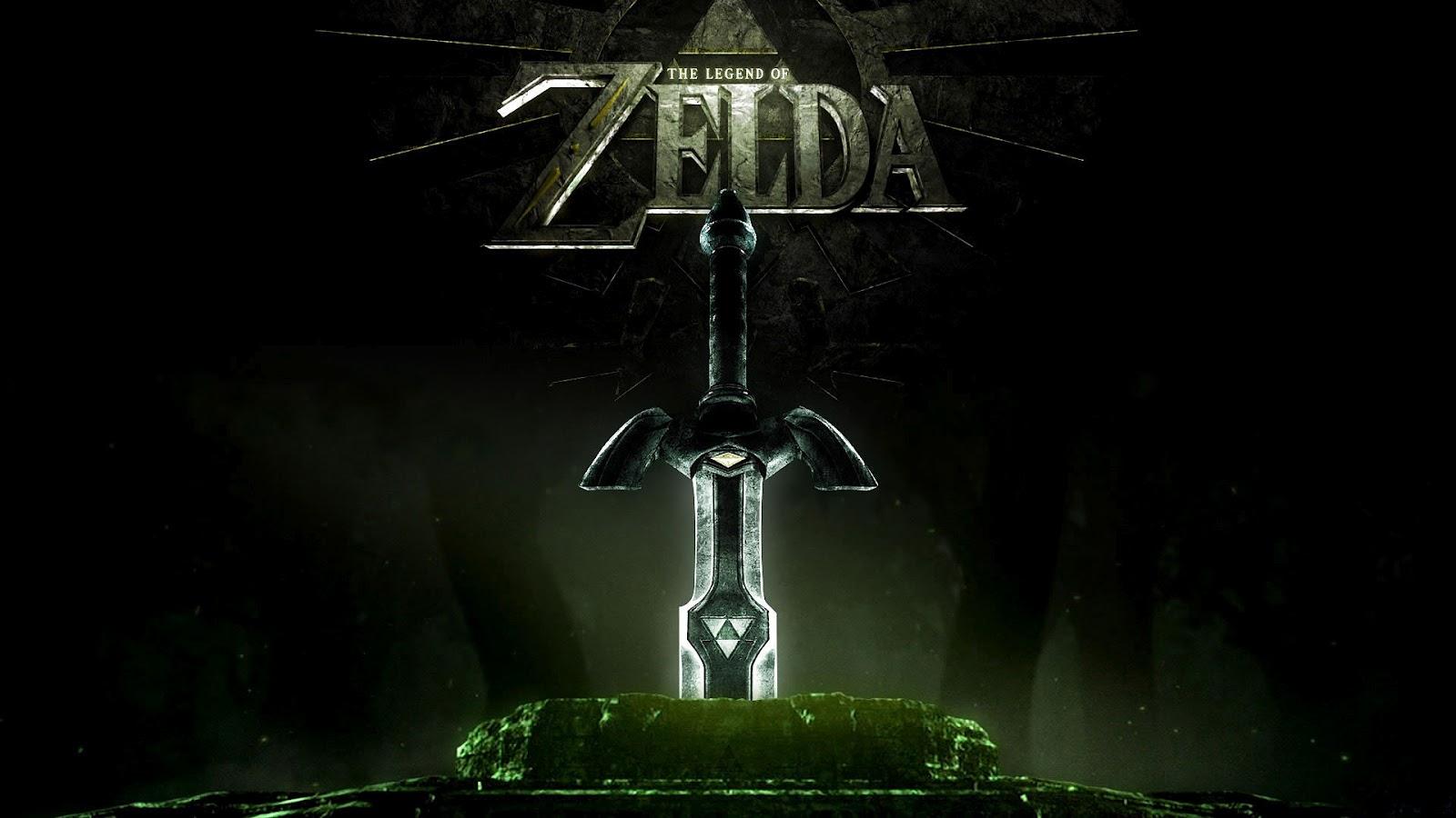 Zwarte game wallpaper van The Legend of Zelda met tekst Zelda en groot 1600x900
