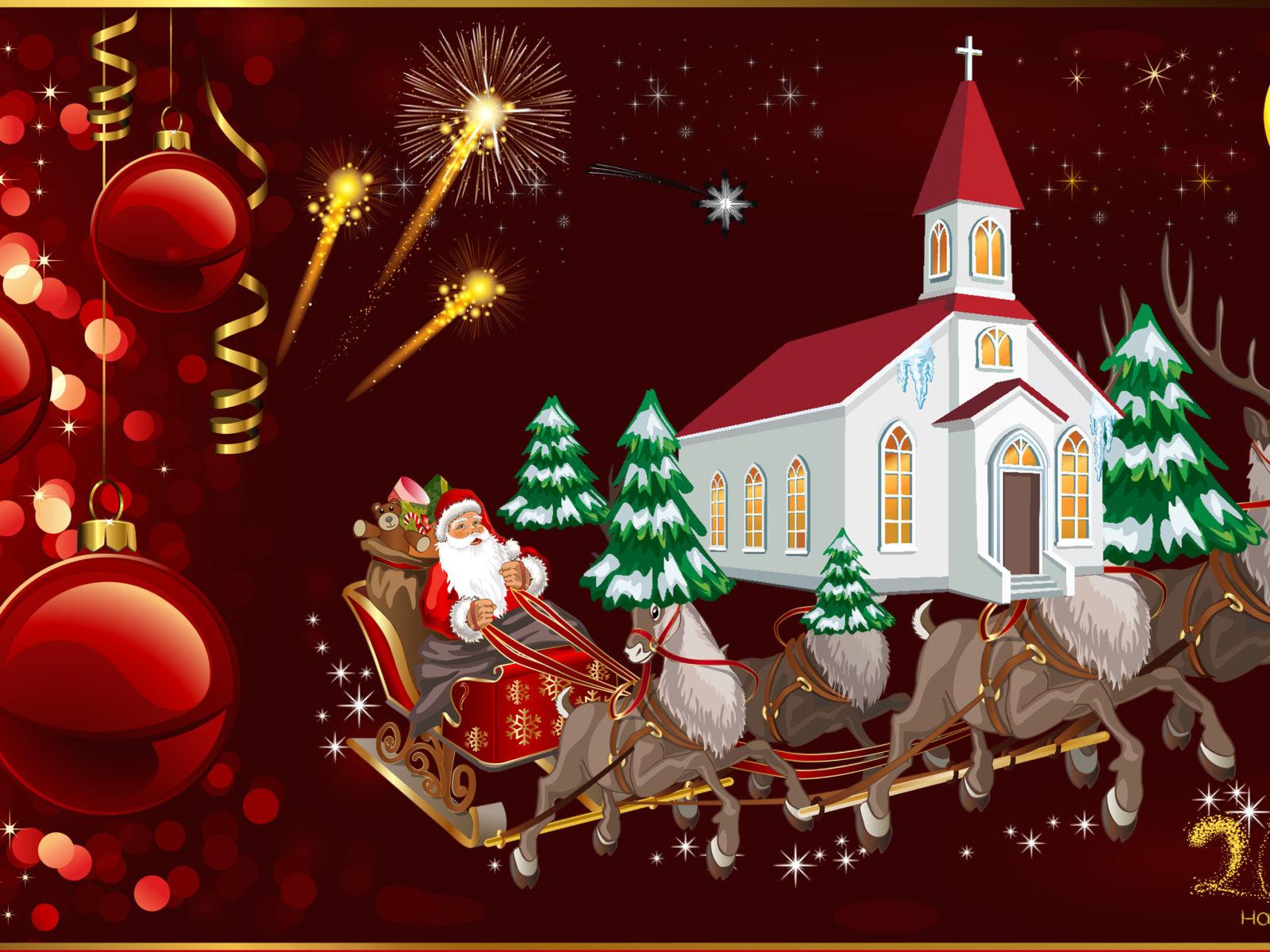 Happy New Year 2020 Merry Christmas Christmas Greeting Card Santa 1600x1200