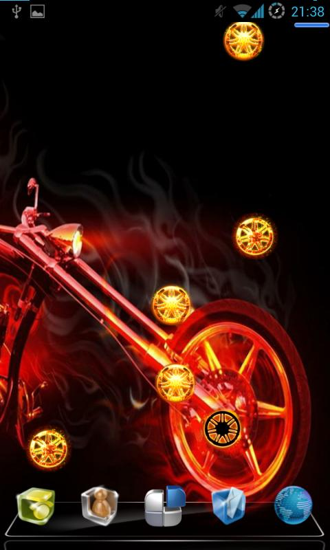 Fill your desktop android with this live wallpaper of Skull Bike Fire 480x800
