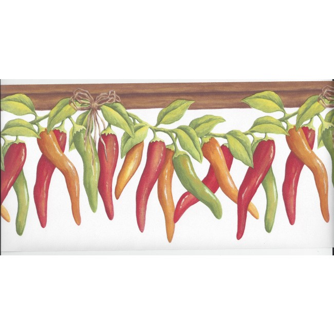 Mexican Chili Peppers on the Vine on White Wallpaper Border KV79527 650x650