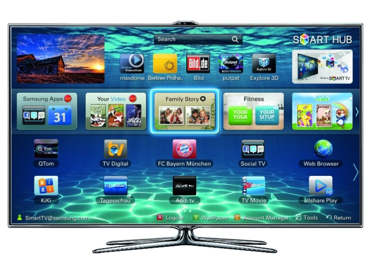 Samsung Smart TV UE40ES8090 LED TV mit Sprachsteuerung Der Samsung 745x556