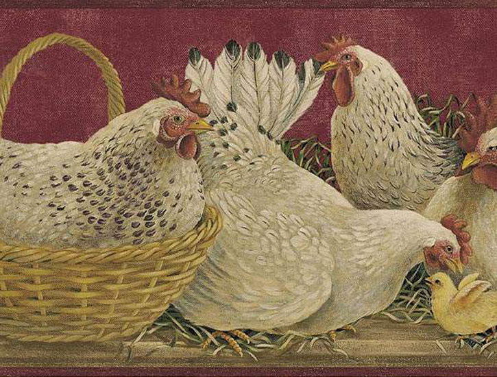 Rooster Burgundy Wallpaper Border   Rustic Country Primitive 725x550