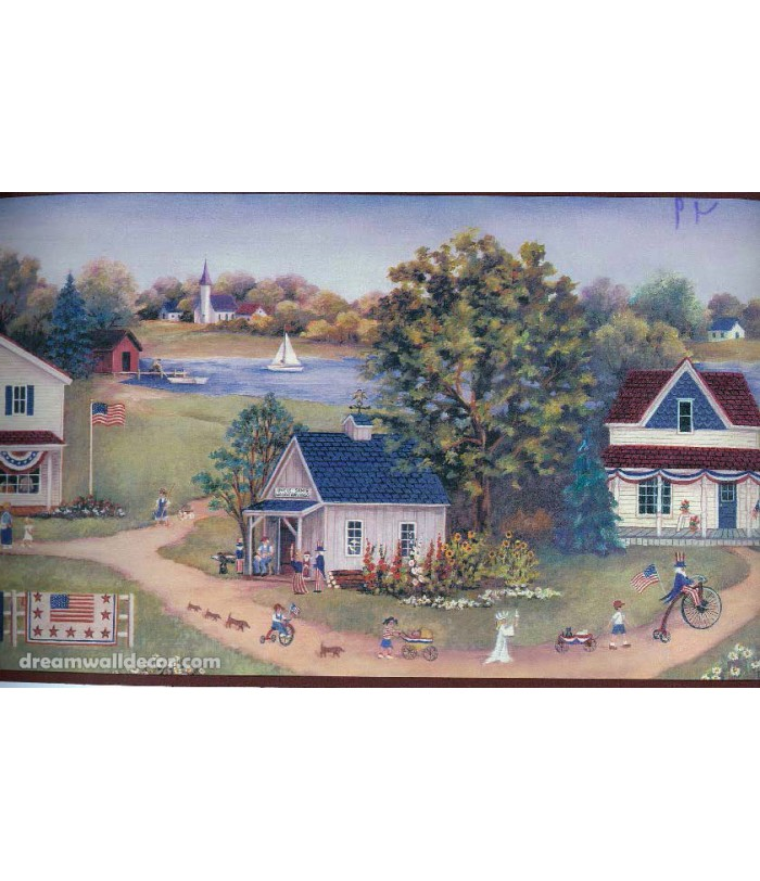 Blue Houses Country Wallpaper Border 700x812