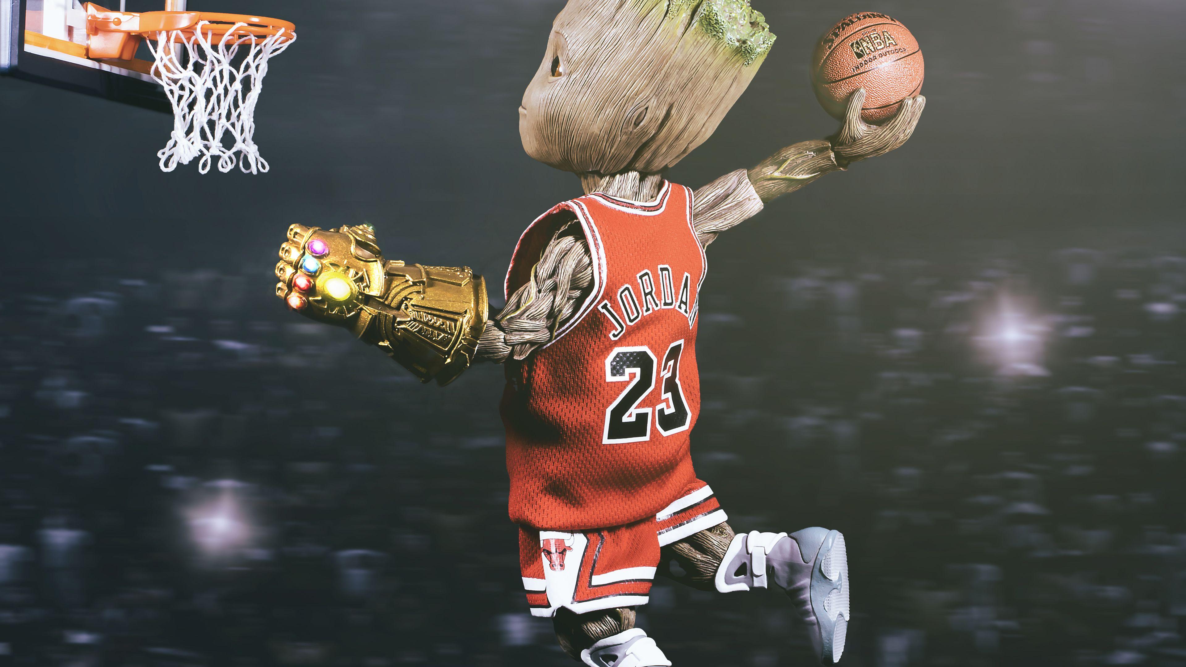 Baby Groot Playing Basketball superheroes wallpapers hd 3840x2160