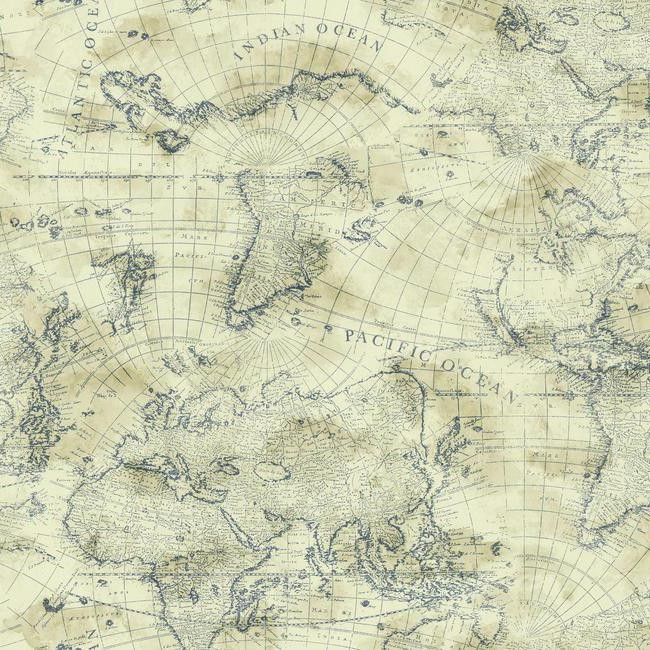 Nautical Blue World Map on Cream Sure