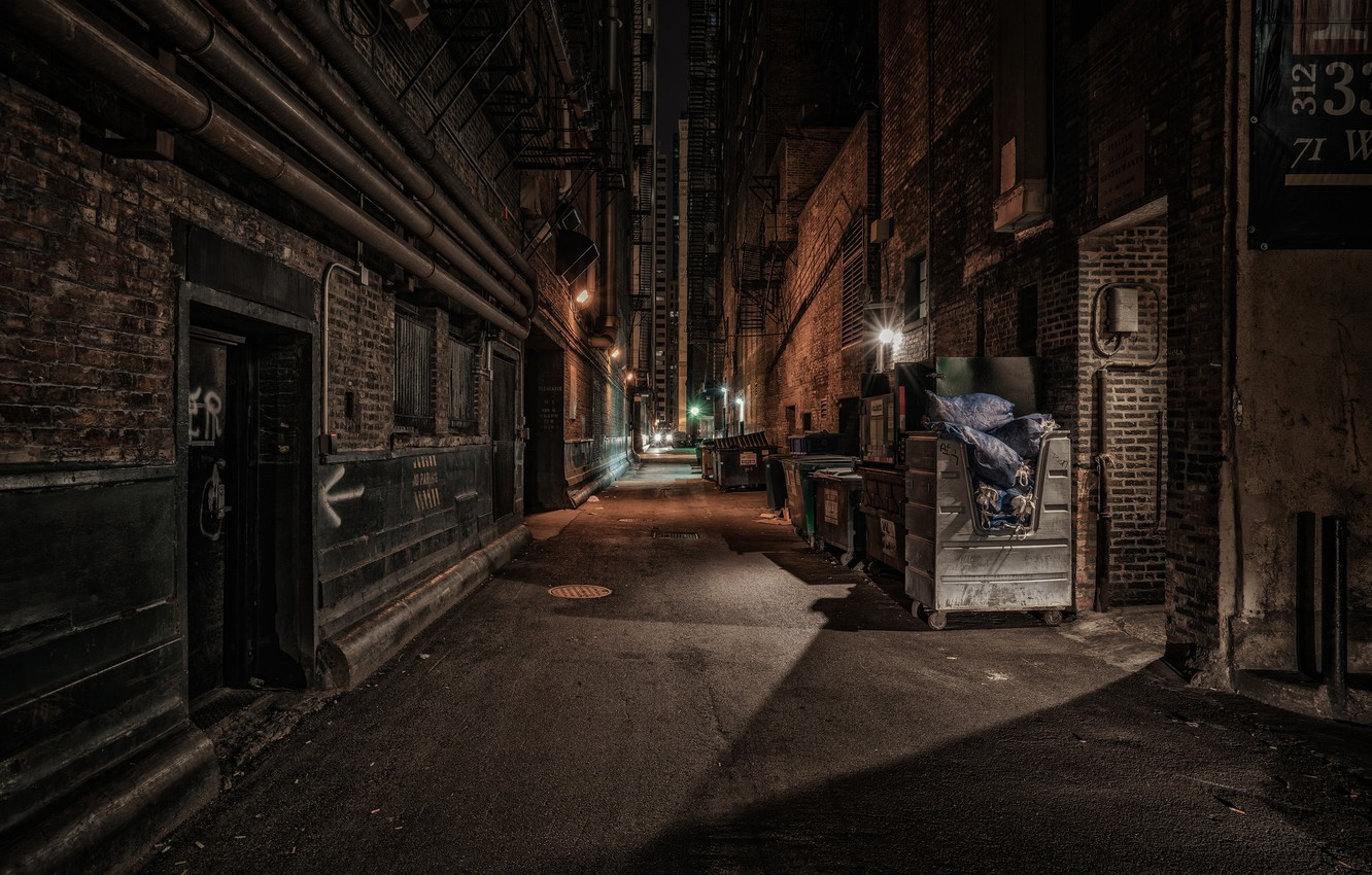 Wallpaper lights United States Chicago Illinois night alley 1332x850