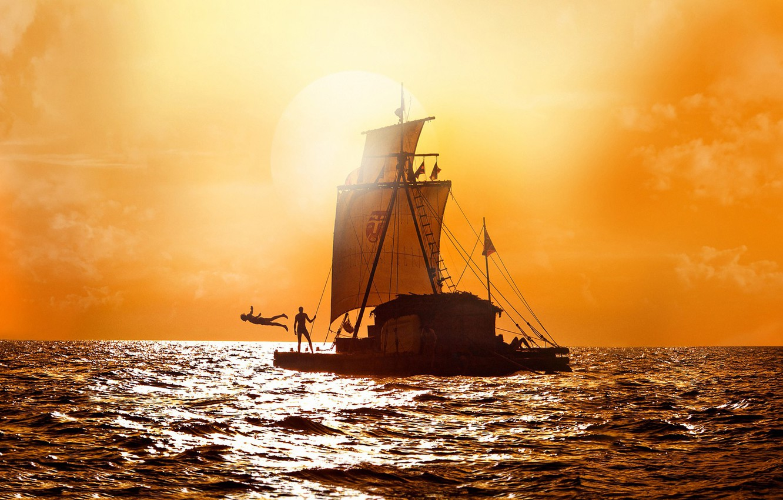 Wallpaper sea people The sky horizon sail two the raft 1332x850