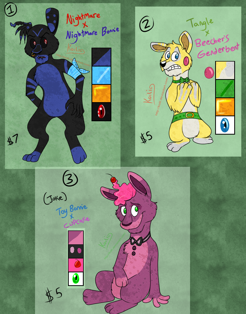 FNaF Ship Adoptables Set 3   CLOSED by Koili 941x1199