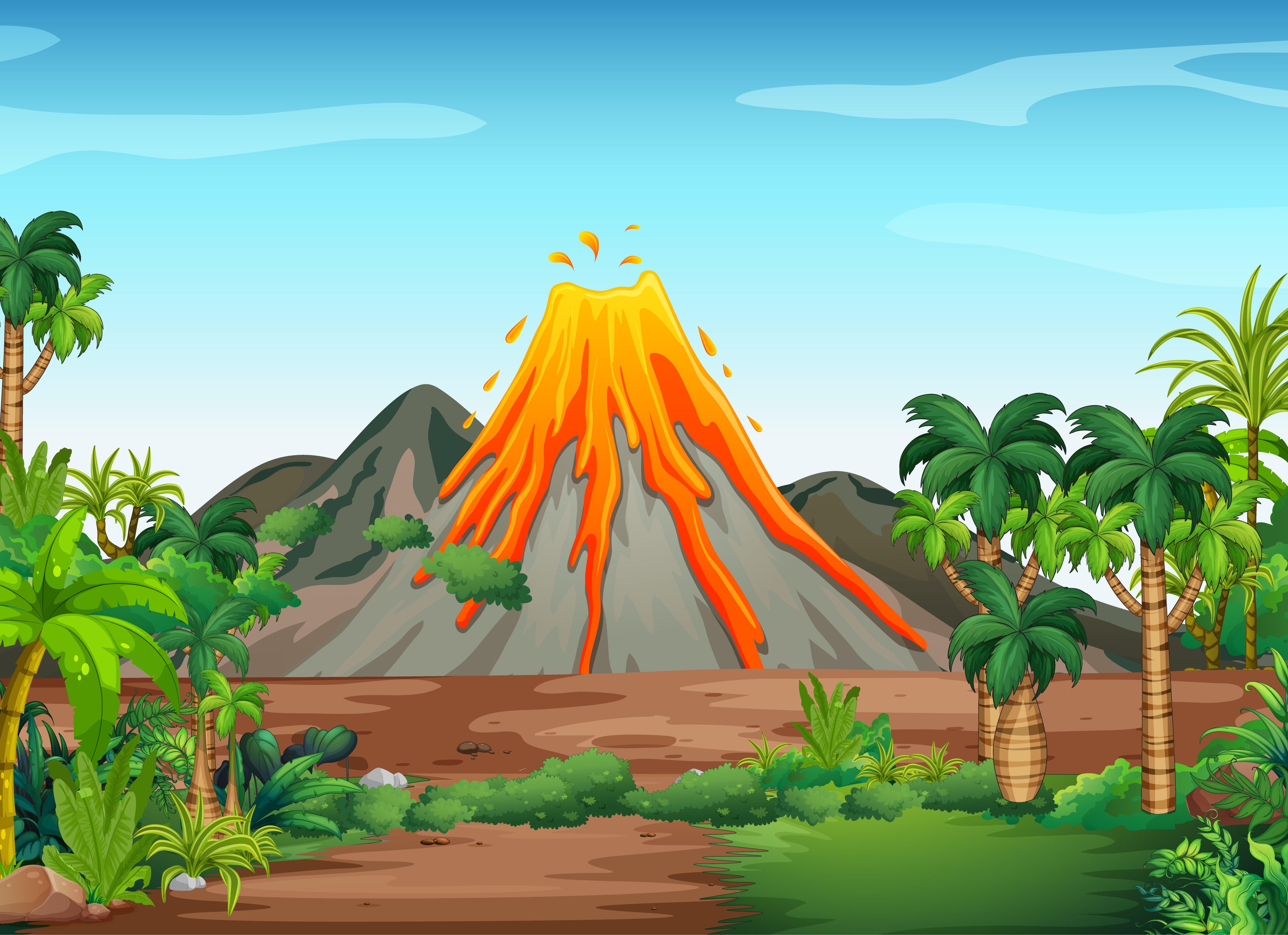 Volcanic eruption outdoor scene background 1482193 Vector Art at 5534x4016