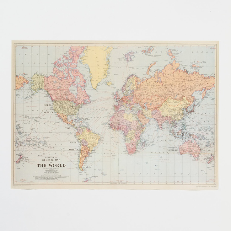 use a vintage world map as wallpaper College Pinterest 736x736