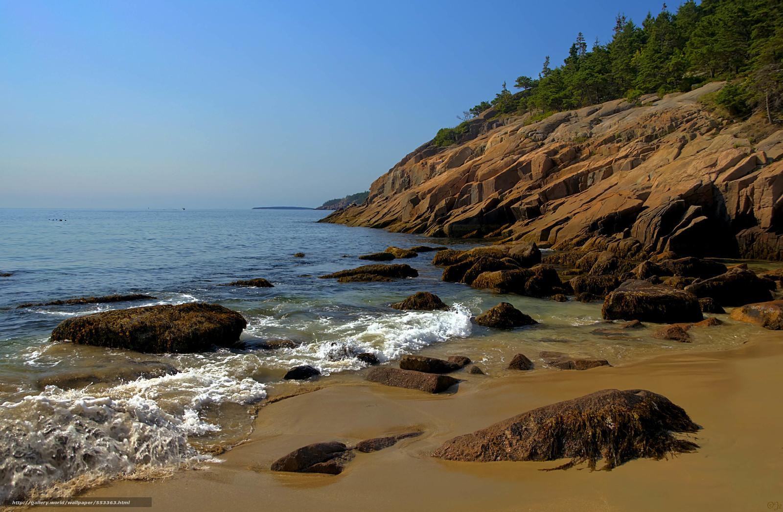 Download wallpaper Acadia National Park sea shore stones 1600x1046