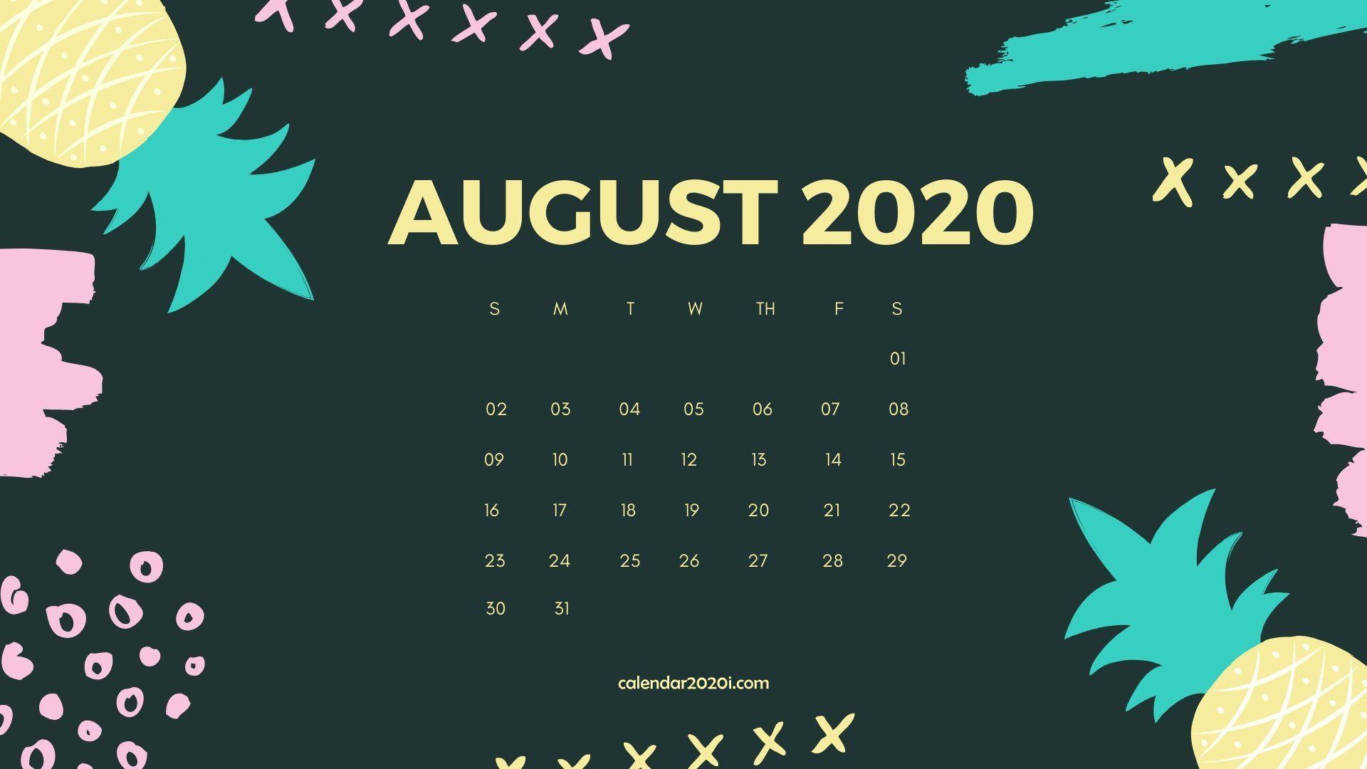 August 2020 Calendar Desktop Wallpaper in 2019 August wallpaper 1920x1080