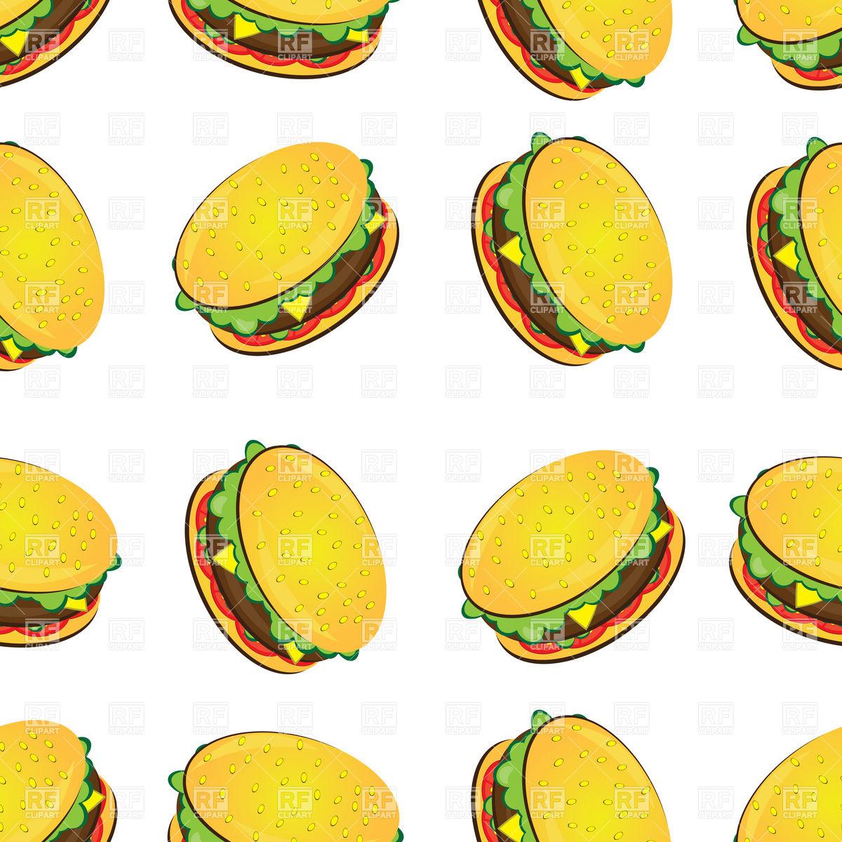 Seamless Space Background Cartoon Hamburger Wall...